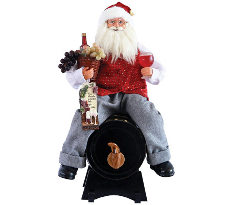 "18"" Santa Sitting on Wine Barrel by Santa's Workshop"
