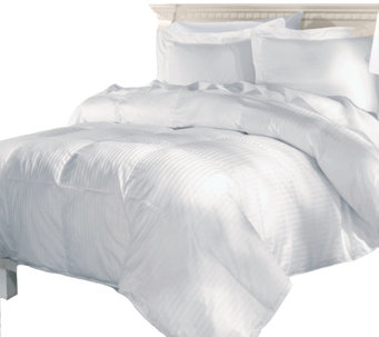 Elle 500TC Damask Stripe White Goose Down Full/Queen Comforter - H290048