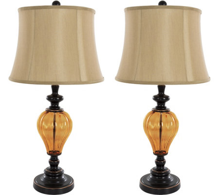 Lavish Home Table Lamps Set of 2, Amber Glass