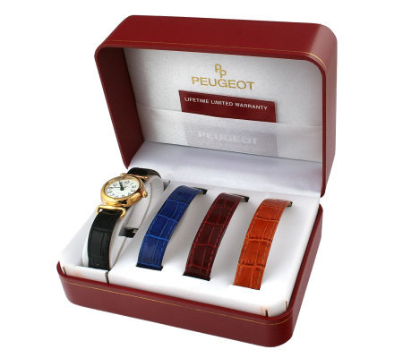 Peugeot Women's Goldtone Watch Gift Set with Leather Straps