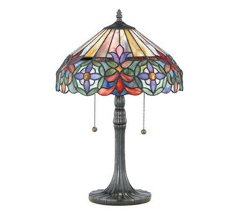 "Tiffany-Style 22"" Genuine Art Glass Table Lamp - H159149"