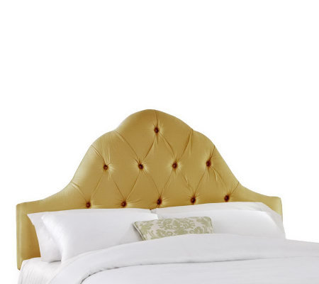 Skyline Furniture Arch Tufted Faux Silk King Headboard