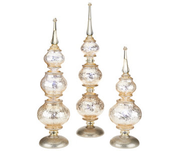 """As Is"" Set of 3 Illuminated Frosted Finials by Valerie - H207249"
