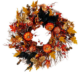 "19"" Wreath with Leaves, Pumpkins and Crows - H208849"
