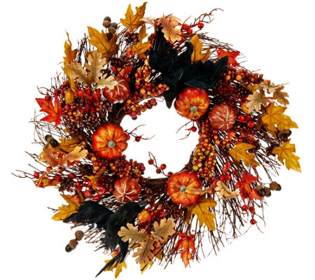 "19"" Wreath with Leaves, Pumpkins and Crows"