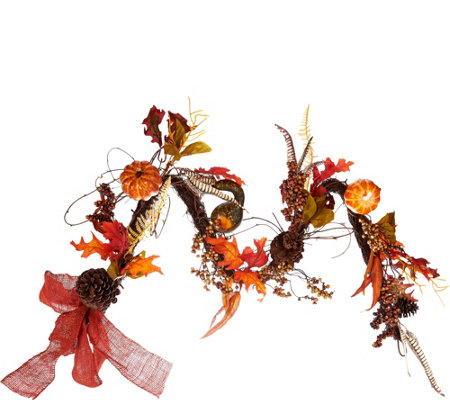 Plow and Hearth Illuminated 5' Fall Garland with Timer