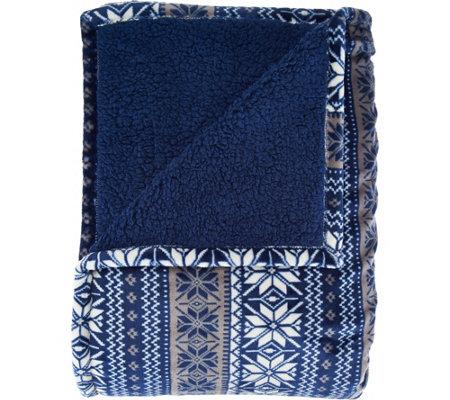 Berkshire Blanket Fair Isle Reverse to Sherpa Blanket — QVC.com