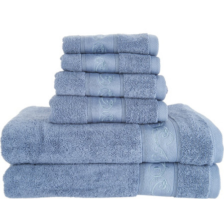 Casa Zeta-Jones 6 Piece 100% Cotton Embroidered Towel Set