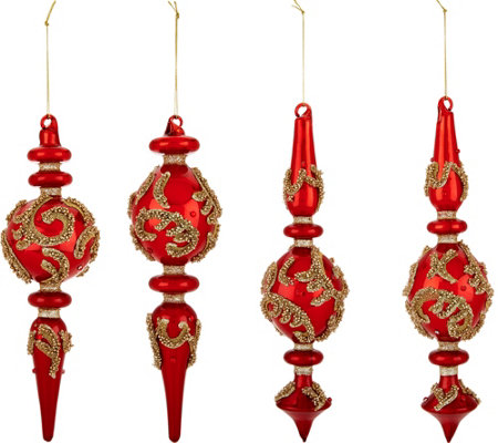 """As Is"" Set of 4 Glass Finial Ornaments with Beading by Valerie"