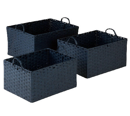 Honey-Can-Do 3-pc Paper Rope Basket Set - Blue