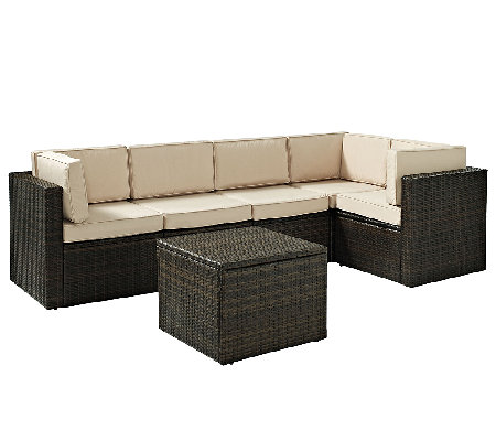 Crosley Palm Harbor 6-Pc Outdoor Wicker Sectional Seating Set