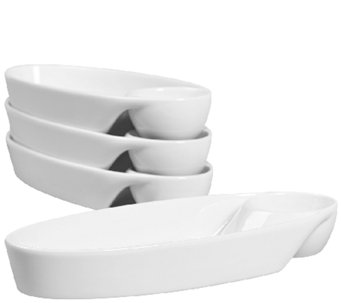 Denmark Tools for Cooks Oval Individual Chip &Dip - Set of 4 - H284149