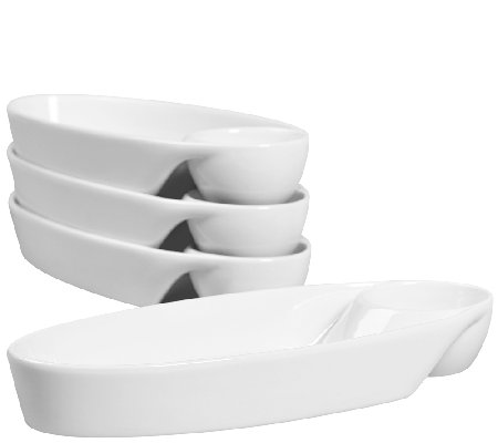 Denmark Tools for Cooks Oval Individual Chip &Dip - Set of 4