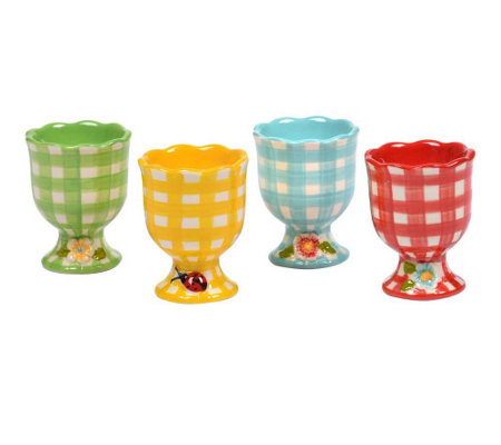 Temp-tations Gingham Garden Set of 4 Egg Cups