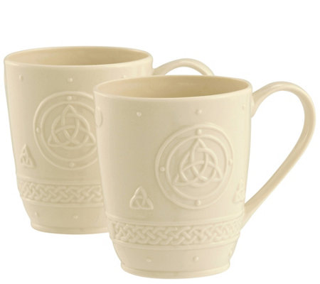 Belleek Set of 2 Celtic Mugs
