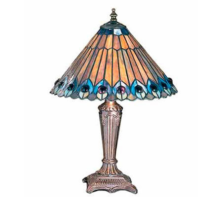 Tiffany Style Jeweled Peacock Accent Lamp
