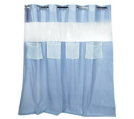 Hookless Vision Vinyl Shower Curtain with FourMesh Pockets