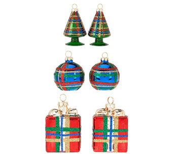 """As Is"" 6-piece Handpainted Plaid Ornaments by Valerie - H207250"