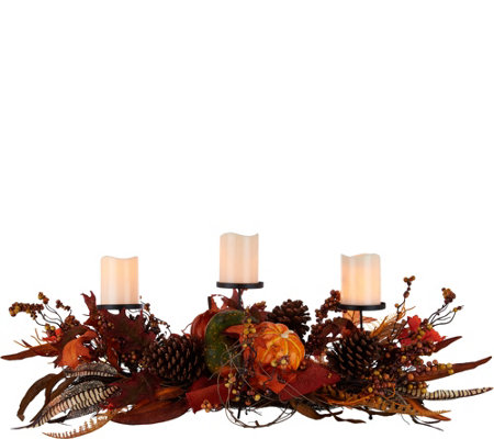 "Plow and Hearth Centerpiece with (3) 4"" Flameless Candles"