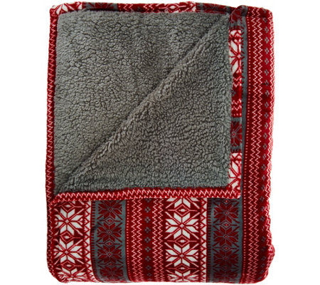 Berkshire Blanket King Fair Isle Reverse to Sherpa Blanket