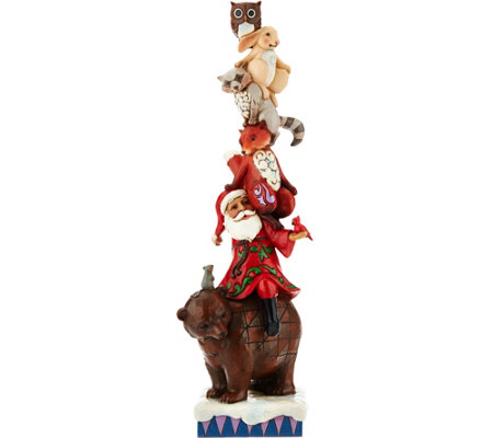 Jim Shore Heartwood Creek Stacked Santa with Animals Figurine
