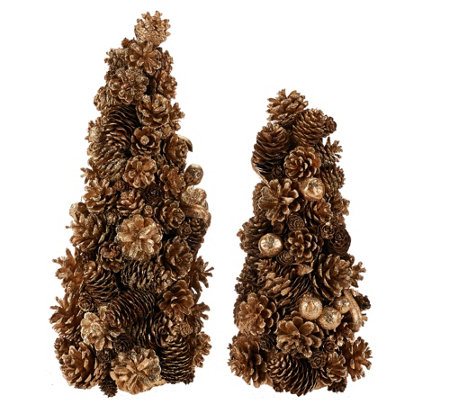 """As Is"" 12"" and 16"" Shimmering Forest Pinecone Trees"