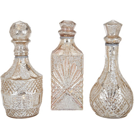 """As Is"" Kringle Express Set of 3 Lit Textured Mercury Glass Bottles"