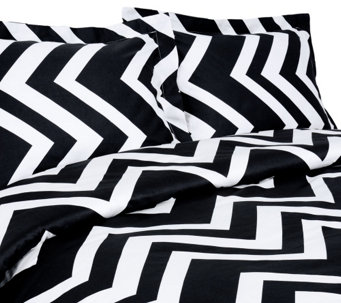 100% Cotton Chevron Print King Duvet Cover andShams Set - H285050