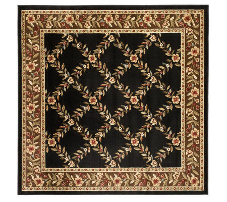 "Lyndhurst Open Floral Power Loomed 6'7"" X 6'7""Square Rug"
