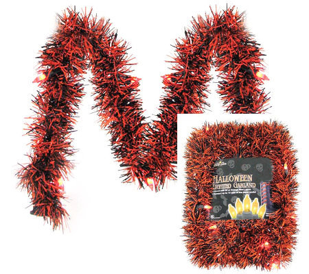 10' Lighted Garland LED Orange/Black Tinsel