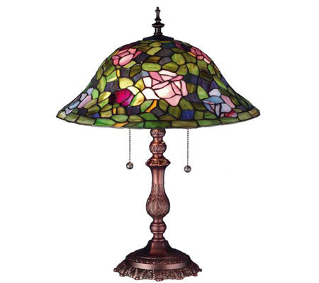 "Tiffany Style 19""H Rose Bush Lamp"