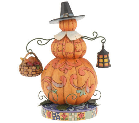 "Jim Shore Heartwood Creek ""Pilgrim Patch"" Pumpkin Pilgrim Figurine"