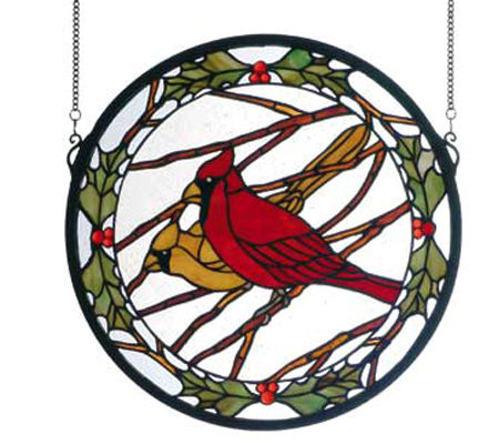 Tiffany Style Round Cardinals & Holly Window Panel