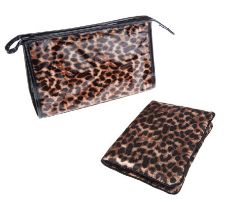 Dennis Basso Leopard Print Cosmetic Bag Jewelry Roll Gift Set