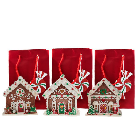 """As Is"" Set of 3 Mini Gingerbread Houses with Gift Bags"
