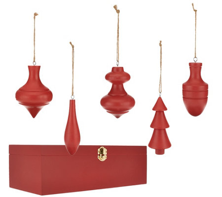 """As Is"" ED On Air Set of 5 Wood Finial Ornaments by Ellen DeGeneres"
