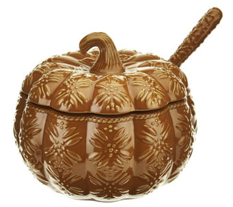 """As Is"" Temp-tations Old World 4 qt. Embossed Pumpkin Tureen - H210751"