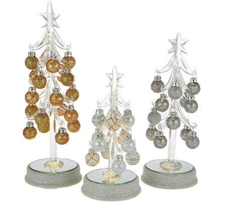 """As Is"" Kringle Express S/3 Glass Trees w/ Metallic Ornaments"