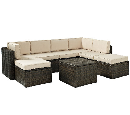 Crosley Palm Harbor 8-Pc Outdoor Wicker Sectional Seating Set