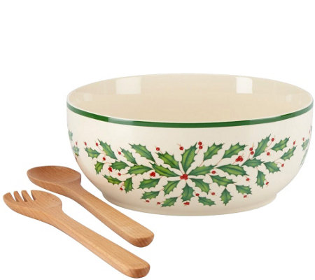 Lenox Holiday Salad Bowl w/ Wooden Servers