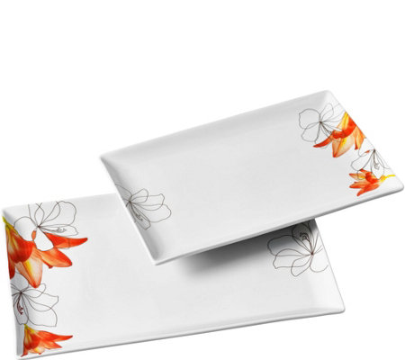Tabletops Gallery 2-Piece Rectangular Platter Set - Lily