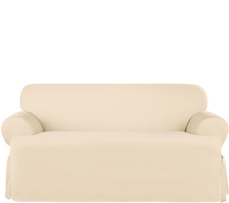 Sure Fit Heavyweight Cotton Duck T-Cushion LoveSeat Slip Cover
