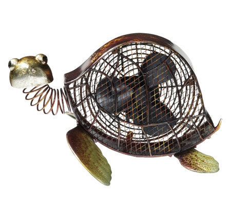 Deco Breeze Hand Sculpted Metal Decorative SeaTurtle Fan
