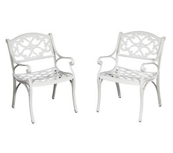 Home Styles Biscayne Outdoor Arm Chair Pair - White Finish - H358351