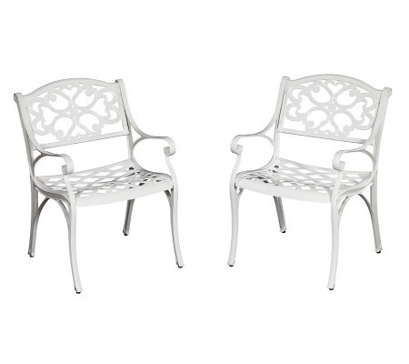 Home Styles Biscayne Outdoor Arm Chair Pair - White Finish