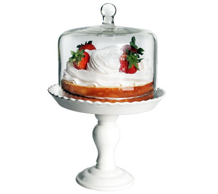 Bianca White Pedestal Cake Plate with Dome