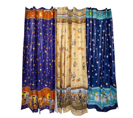 Hookless Set Of 3 Vinyl Holiday Design Shower Curtains
