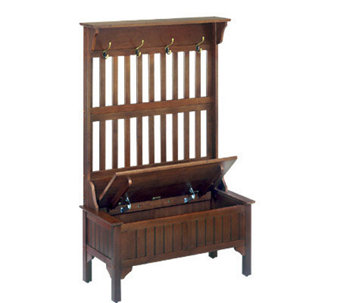 Home Styles Cherry Storage Bench With Coat Rack   H116852