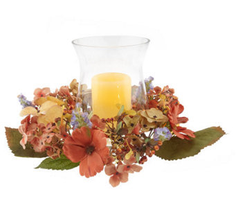 "AutumnHydrangea Centerpiecew/5"" FlamelessCandle w/Timer by Valerie - H164152"