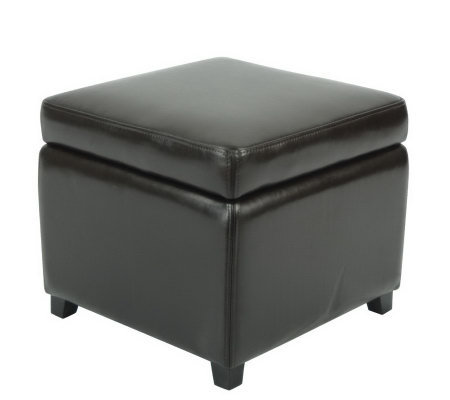 Plush Bicast Leather Flip-Top Storage Ottoman